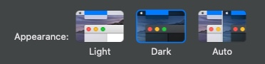 Light/Dark Mode setting MacOS