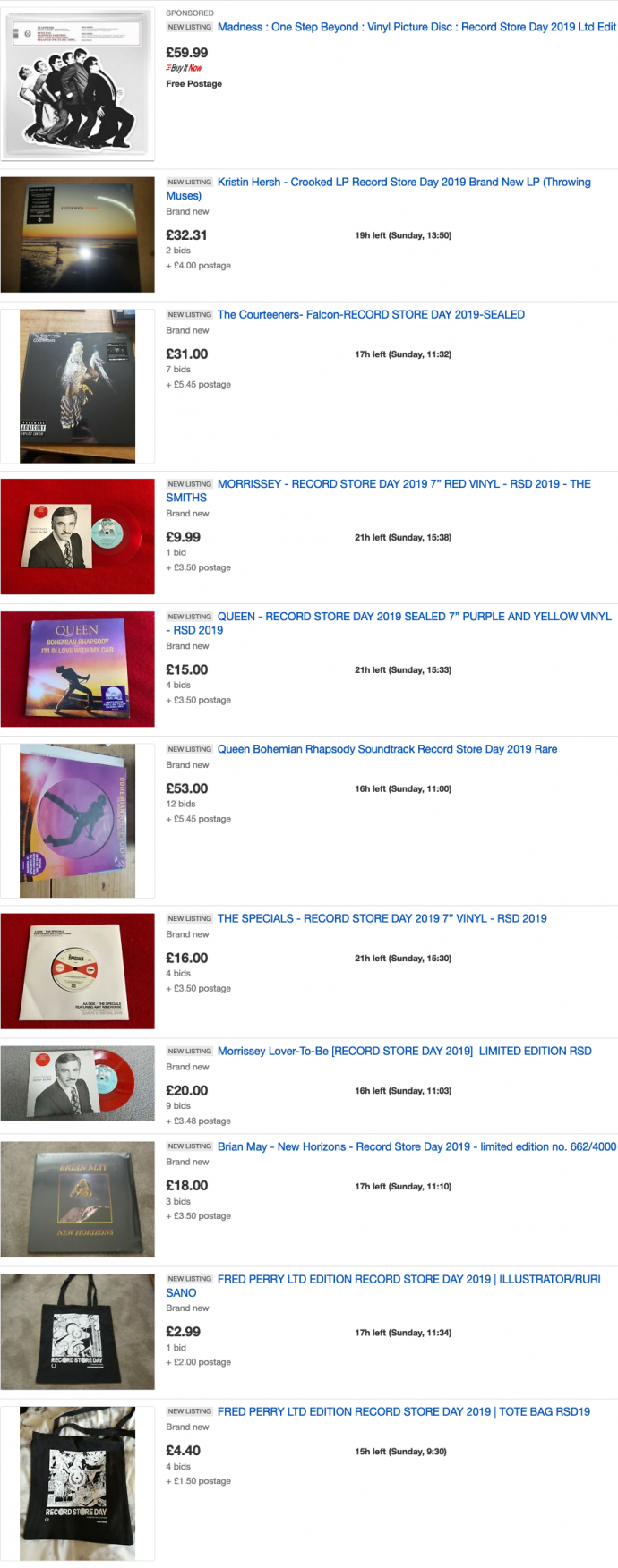 List of items for Record Store Day on ebay