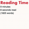 Reading Time displayed on a web page
